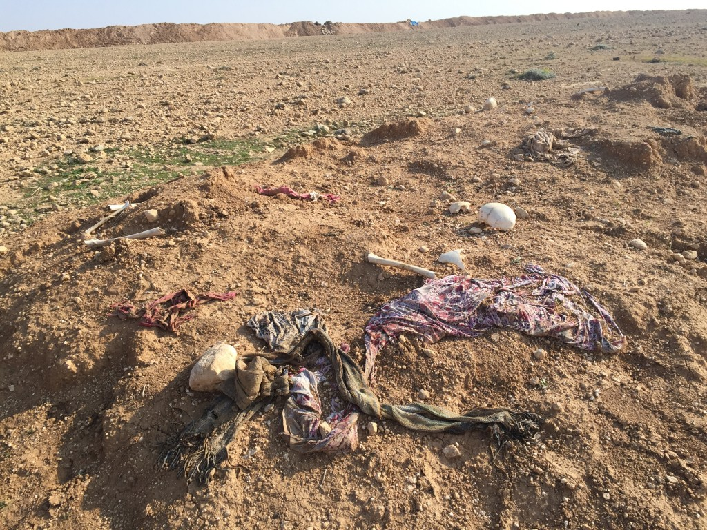 A mass grave of Yazidi victims of ISIS. Photo: Seth J. Frantzman / The Tower
