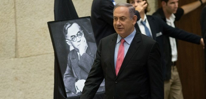 Prime Minister Benjamin Netanyahu arrives at the assembly hall for a special session marking the day Zeev Jabotinsky died, in the Knesset, the Israeli Parliament in Jerusalem on August 3, 2016. Photo by Yonatan Sindel/Flash90 *** Local Caption *** ????? ???? ??? ?????? ?? ?'???????? ??? ?????? ?????? ?????? ????