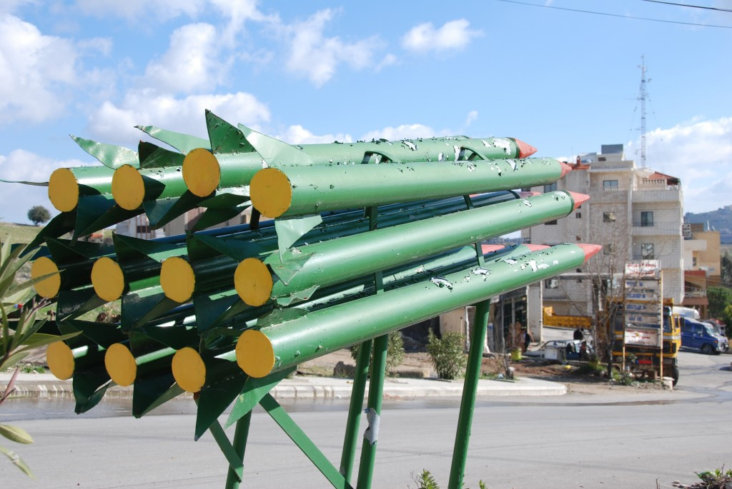 A sculpture on the outskirts of Bint Jbeil depicts rockets aimed towards Israel. Photo: Paul Keller / flickr