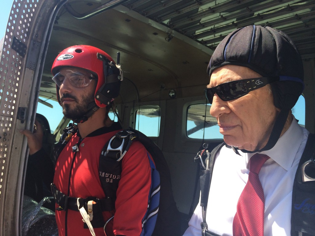 Shimon Peres goes skydiving in a 2014 video after he retired from public office. Photo: Peres Spokesperson / Flash90