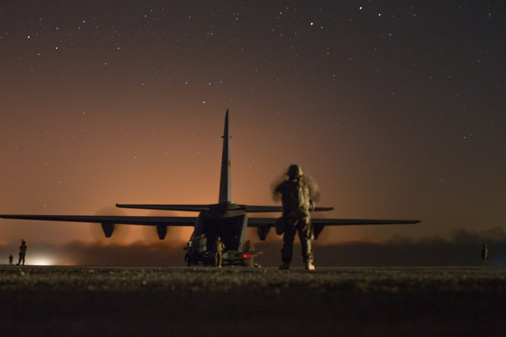 A U.S. Air Force C-130J Super Hercules waits to unload logistical supplies in support of the fight for Mosul at Qayyarah West airfield, Iraq, October 22, 2016. Photo: Spc. Christopher Brecht / U.S. Army