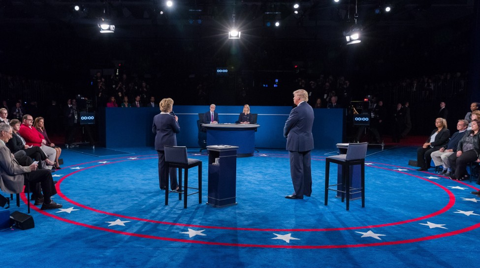 Hillary Clinton and Donald Trump at the second presidential debate in St. Louis. Photo: Adam Schultz / flickr