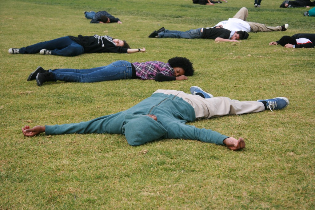 "A ""die-in"" protest by members of Students for Justice in Palestine at the University of California, Riverside. Photo: Scott Denny / flickr"