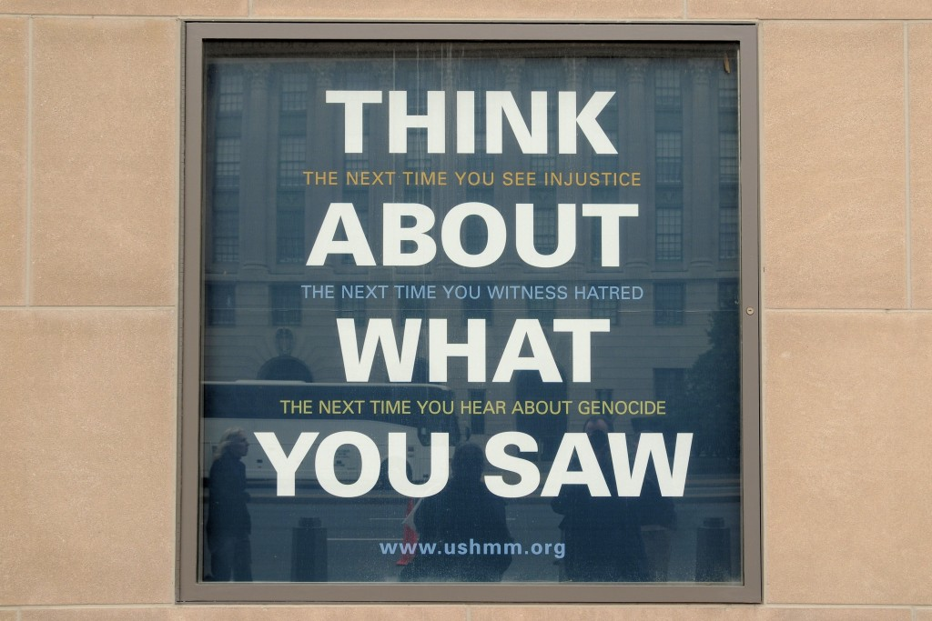 A sign outside the United States Holocaust Memorial Museum. Photo: Son of Groucho / Wikimedia
