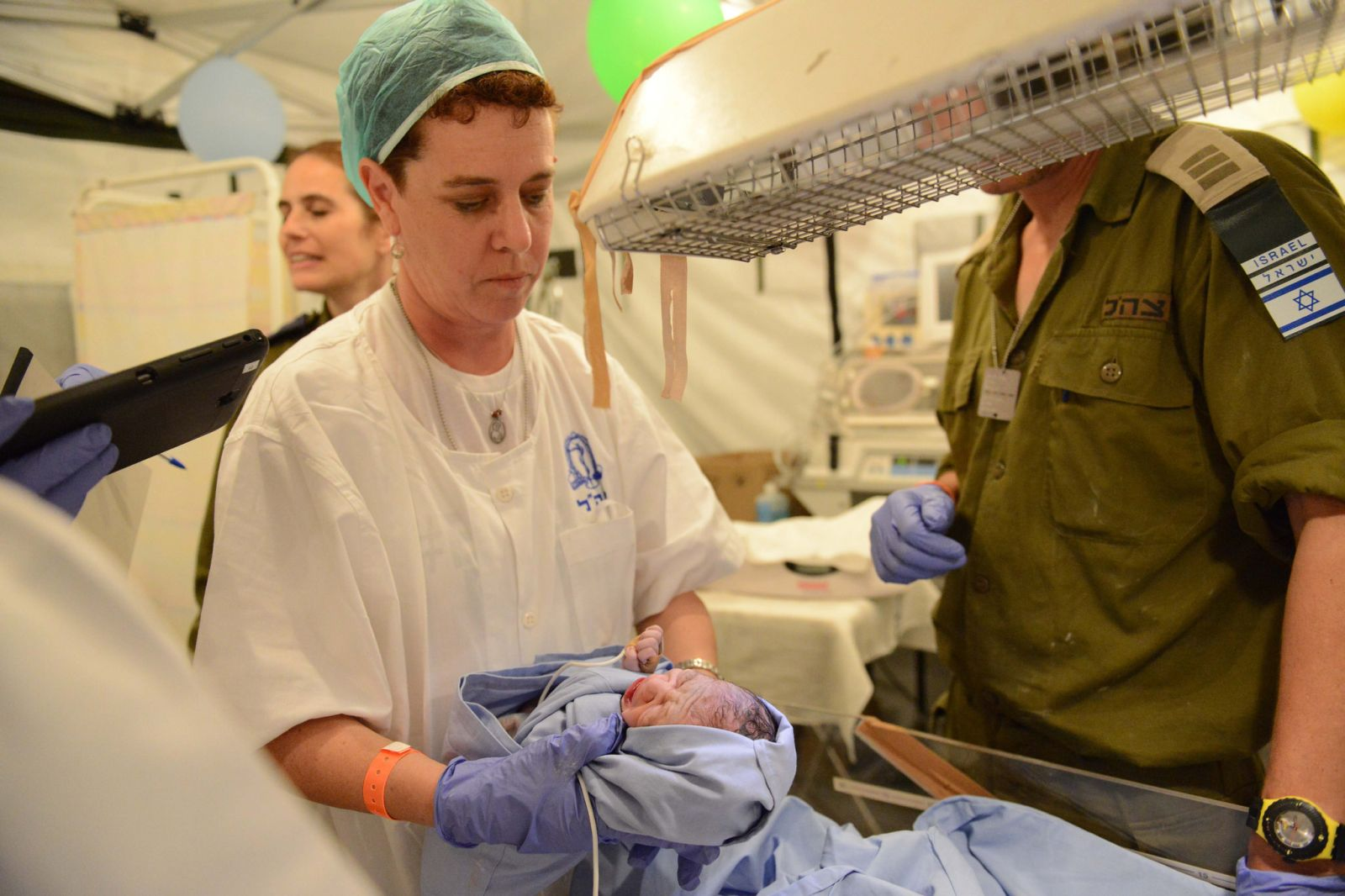 A baby is born at the IDF field hospital in Nepal. Photo: IDF