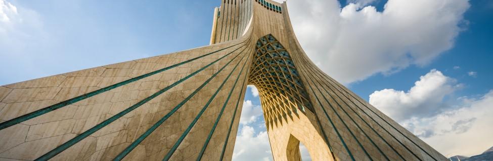 Teheran, Iran - February 2016 - Azadi Tower, one ofe the most important monument in Teheran on winter. Iran, 2016