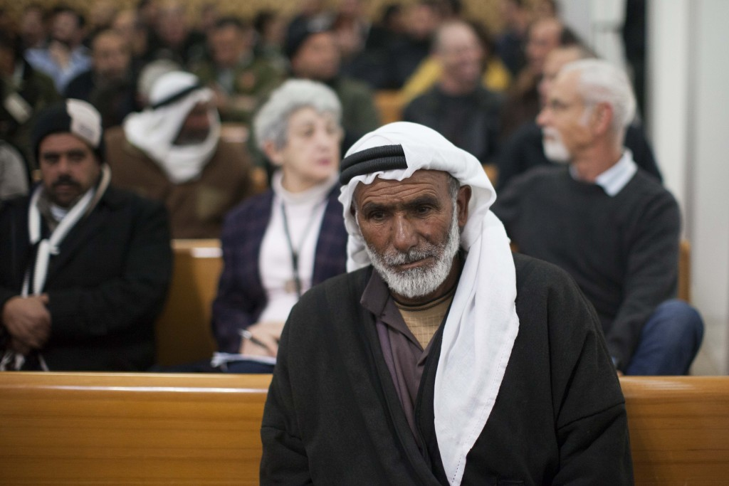 A Susiya representative appears in a Jerusalem courtroom at a hearing regarding the village's demolition orders, January 31, 2013. Photo: Yonatan Sindel / Flash90