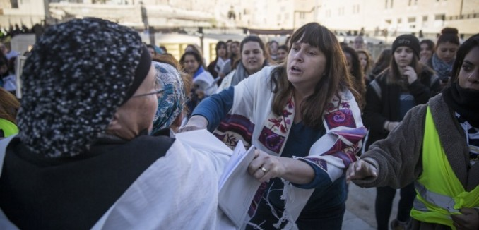 Ultra Orthodox women protest against the Women of the Wall movement hold Rosh Hodesh prayers at the Western Wall in Jerusalem Old City, December 1, 2016. Photo by Hadas Parush/Flash90  *** Local Caption *** ??????? ???????????? ?????? ?????? ???????? ???? ????? ????? ????? ???? ???? ???????? ????? ?????? ??? ????? ??????? ????? ?????????