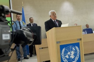 Mahmoud Selman Abbas ( at the podium ) President of the State of Palestine during a Special Session of the Human Rights Council.  28 october 2015. UN Photo / Jean-Marc FerrŽ