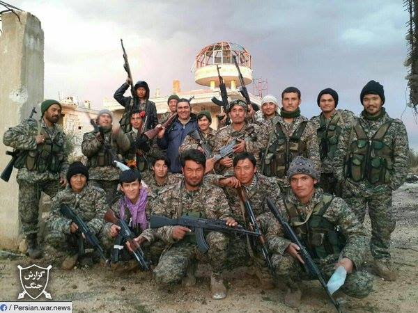 Hazara fighters from the Fatemiyoun Brigade. Photo: Rao Komar / Twitter