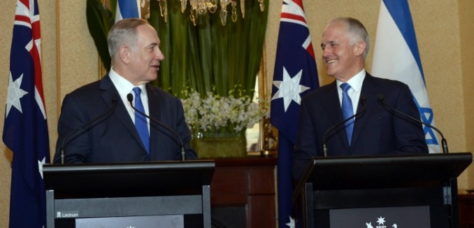Israeli Prime Minister Benjamin Netanyahu and Australian Prime Minister Malcolm Turnbull seen during a joint press conference in Sydney, Australia, on February 22, 2017. Photo by Haim Zach/GPO *** Local Caption *** ???? ?????? ?????? ????? ???????? ????? ??? ????? ???????? ?????? ??????