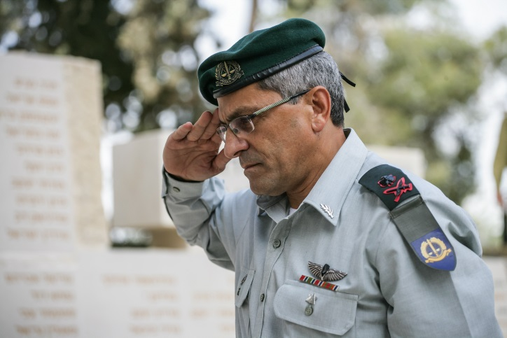 Brig. Gen. Dani Afroni, the IDF's Chief Military Advocate General from 2011-2015, seen during a memorial ceremony for fallen soldiers whose burial place is unknown. Photo: Flash90