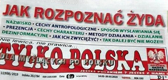 Anti-Semitic Polish Headline How to Spot a Jew