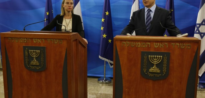 Federica Mogherini, High Representative of the Union for Foreign Affairs and Security Policy gives a press conference with Benjamin Netanyahu, Israel's Prime Minister in Jerusalem on November 7, 2014.